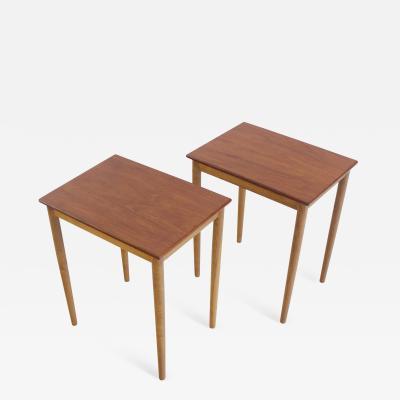 B rge Mogensen Rare Pair of Scandinavian Modern Teak Oak Side Tables by Borge Mogensen