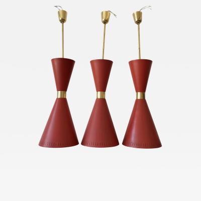 BAG Turgi Bronzewarenfabrik AG Turgi Set of Three Large Mid Century Modern Diabolo Pendant Lamps by BAG Turgi 1950s