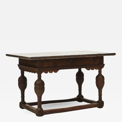 BAROQUE TABLE IN OAK TREE AND WITH LAND LIMESTONE TOP C 1750