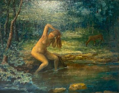 BATHING NUDE AND DEER IN LUSH LANDSCAPE PAINTING BY MICHAEL BENEDETTO