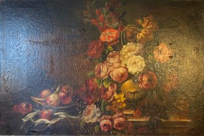 BEAUTIFUL FLOWERS AND FRUITS VICTORIAN ERA STILL LIFE PAINTING