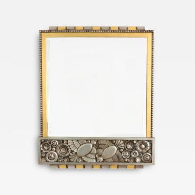 BELGIUM 1920S ART DECO SILVER AND GOLD LEAF MIRROR