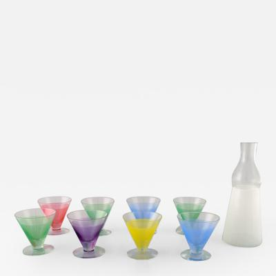 BENGT ORUP 8 colorful cocktail glasses with decanter bottle Party