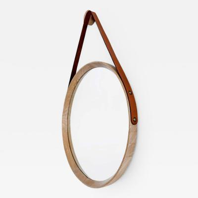 BEVERLY OAK AND LEATHER ROUND MIRROR CERUSED