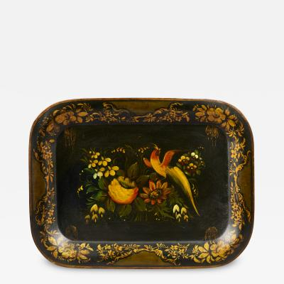 BIRD OF PARADISE TOLE PAINTED TRAY