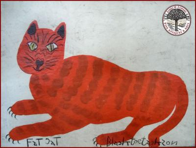 BLACK JOE JACKSON FOLK PAINTING FAT CAT