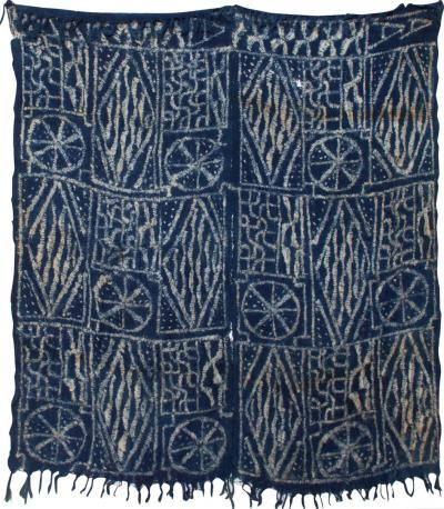 BLUE Blanket Handwoven KUBA Cloth Ceremonial Tapestry Hanging Wall Art Congo
