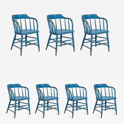 BLUE PAINTED WINDSOR CHAIRS