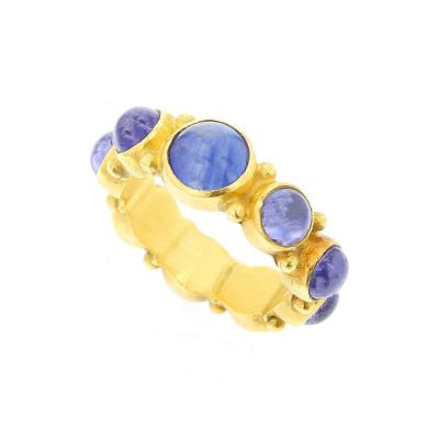 BLUE SAPPHIRE CABOCHON ETERNITY STYLE RING 18K YELLOW GOLD