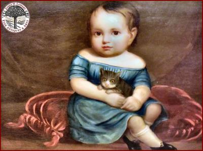 BOY in BLUE with PET CAT PAINTING