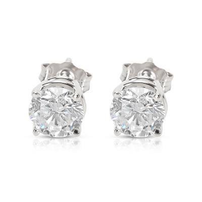 BRAND NEW 4 Prong Basket Diamond Stud Earrings in 14K White Gold 1 42 CTW