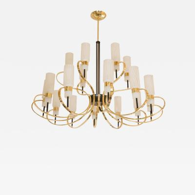 BRASS AND ENAMELED METAL CHANDELIER
