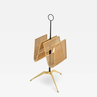 BRASS AND WICKER MAGAZINE RACK