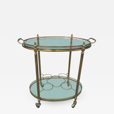 BRASS OVAL SERVING CART WITH REMOVABLE GALLERY TRAY TOP AND BOTTLE RACK