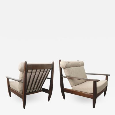 BRAZILIAN LOUNGE CHAIRS IN CARVED SOLID TEAK 1960S