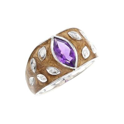 BROWN ENAMEL RING WITH AMETHYST AND DIAMONDS 18K WHITE GOLD