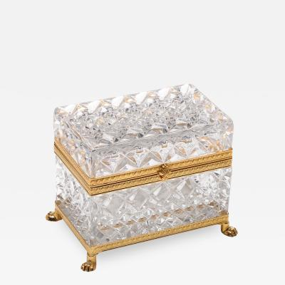 Baccarat Style Molded Glass Jewelry Trinket Box