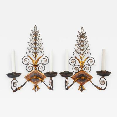 Bagu s Style Crystal and Wrought Iron Wall Sconces circa 1925