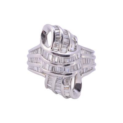 Baguette Diamond Platinum Swirl Ring