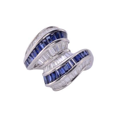 Baguette Sapphire Diamond Platinum Ring