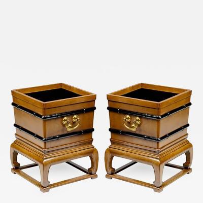 Baker Furniture Company Rare Pair of Baker Far East Mahogany Jardinieres