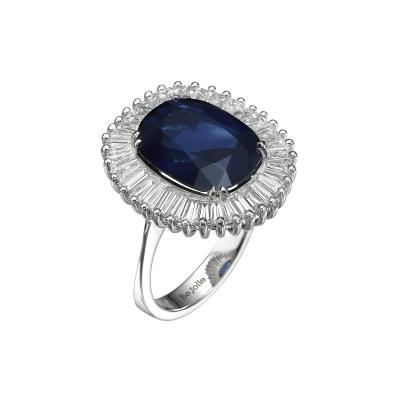 Ballerina Style 6 97 Carat Cushion Cut Blue Sapphire Ring with Diamonds