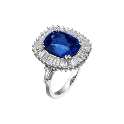 Ballerina Style 7 63 Carat Cushion Cut Natural Blue Sapphire Ring
