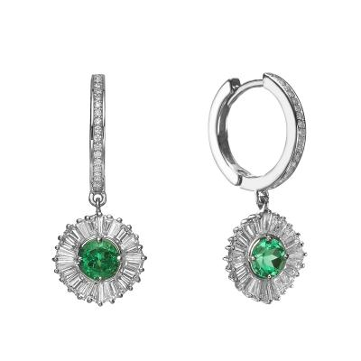 Ballerina Style Natural Emeralds and Diamonds Earrings