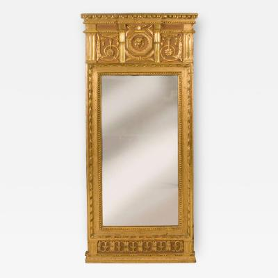 Baltic Neoclassic Gilded and Painted Mirror with Original Mirror Plate