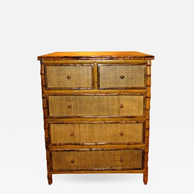 Bamboo and Cane Dresser Drawers
