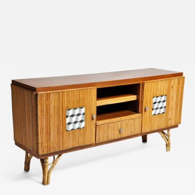Bamboo and Rattan French Riviera Style Side Board