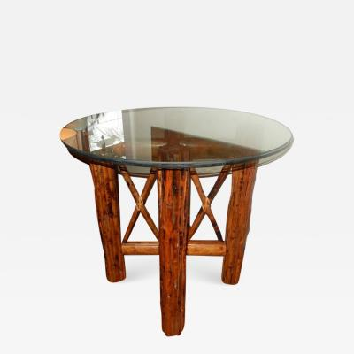 Bamboo and Tortoiseshell Finish Circular Dining Room Table