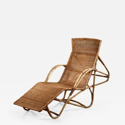 Bamboo and cane adjustable chaise 1950s