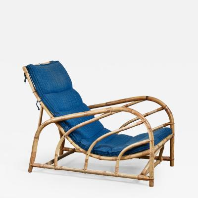 Bamboo and rattan lounge chair Sweden 1930s