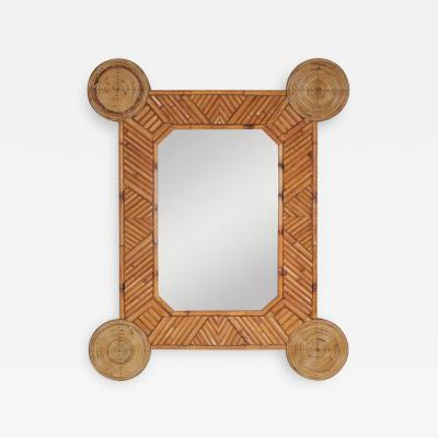 Bamboo and rattan mirror by Arpex 1970s