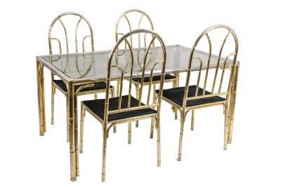 Bamboo style dining table and four chairs in silvered brass 1980s