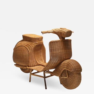 Bamboo wicker Vespa scooter 1970s