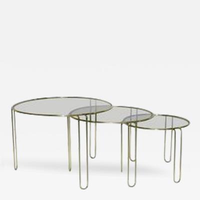 Banci 1970s Italian Minimalist Set of Three Brass Smoked Glass Round Nesting Tables
