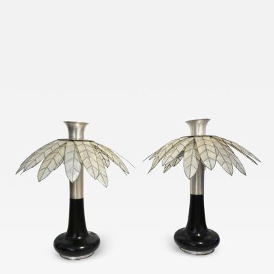 Banci 1975 Banci Italian Art Deco Pair of Mother of Pearl Black Ebonized Palm Lamps