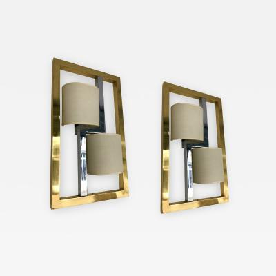 Banci Firenze Pair of Sconces Brass and Chrome by Banci Italy 1980s