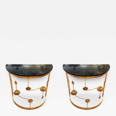 Banci Pair of Gilded Demilune Consoles by Banci