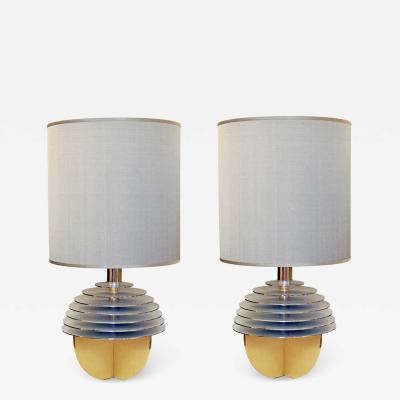 Banci Pair of Italian Brass Globe Table Lamps