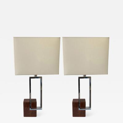 Banci Pair of Lamps Chrome Metal Red Marble by Banci Italy 1970s