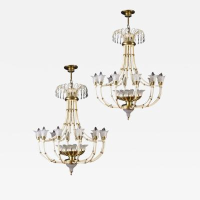 Banci Striking Pair of Modern Italian Chandeliers by Banci Florence 1970