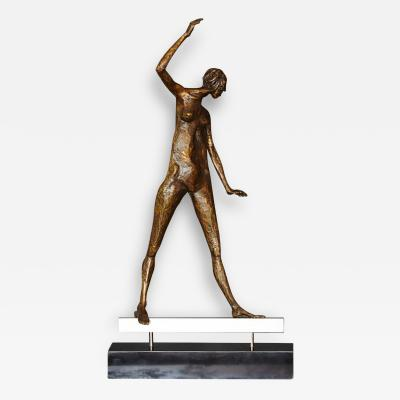 Barbara G Barbara G Cohn Bisgyer Woman on a Beam Abstract Figurative Bronze Sculpture by Barbara G Cohn Bisgyer