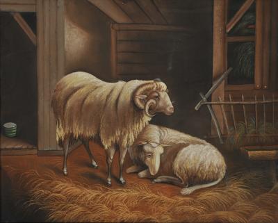 Barn scene with ram and ewe