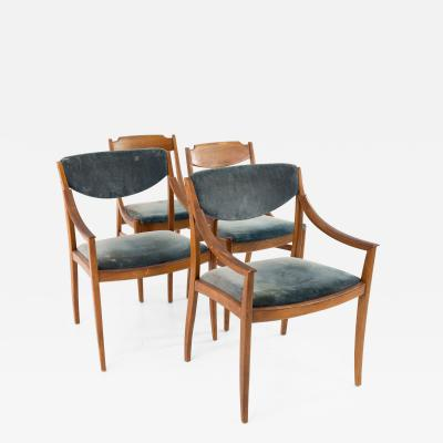Barney Flagg Barney Flagg for Drexel Parallel Mid Century Walnut Dining Chairs Set of 4