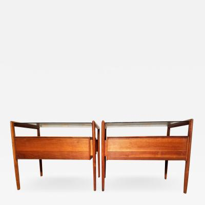 Barney Flagg Pair of Walnut End Tables Parallel Line for Drexel 1960s
