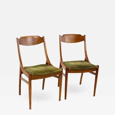 Barney Flagg for Drexel Parallel Mid Century Walnut Dining Chairs Pair