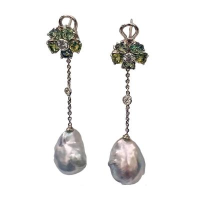 Baroque Pearl Diamond Green Sapphire Earrings